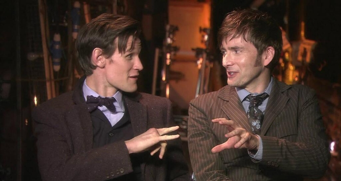 Matt Smith y David Tennant, detrás de escenas del especial.